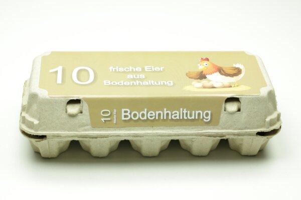 10er Eierschachtel mit Etiketten aus Bodenhaltung